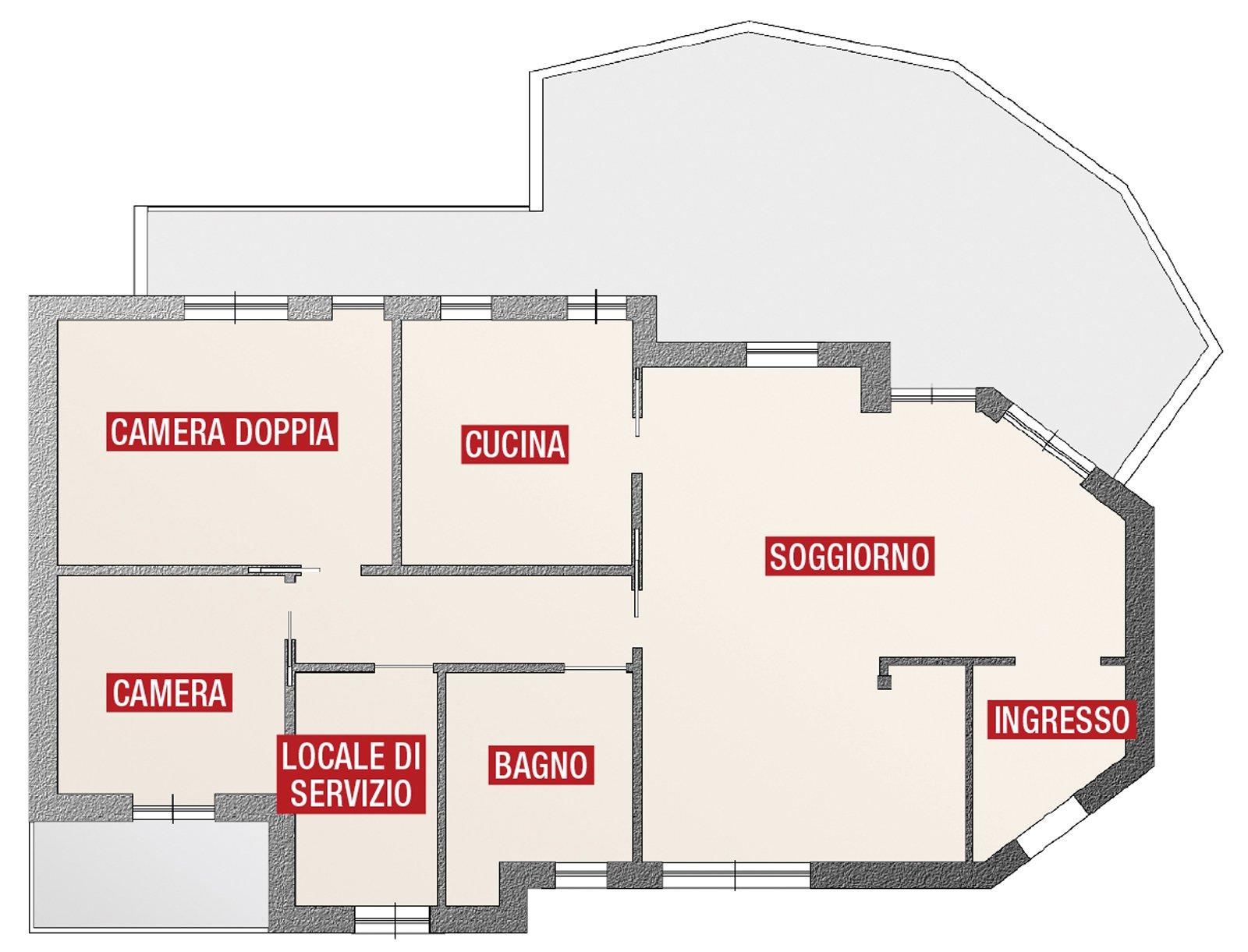Progetto Appartamento 85 Mq ricavare la terza camera - cose di casa