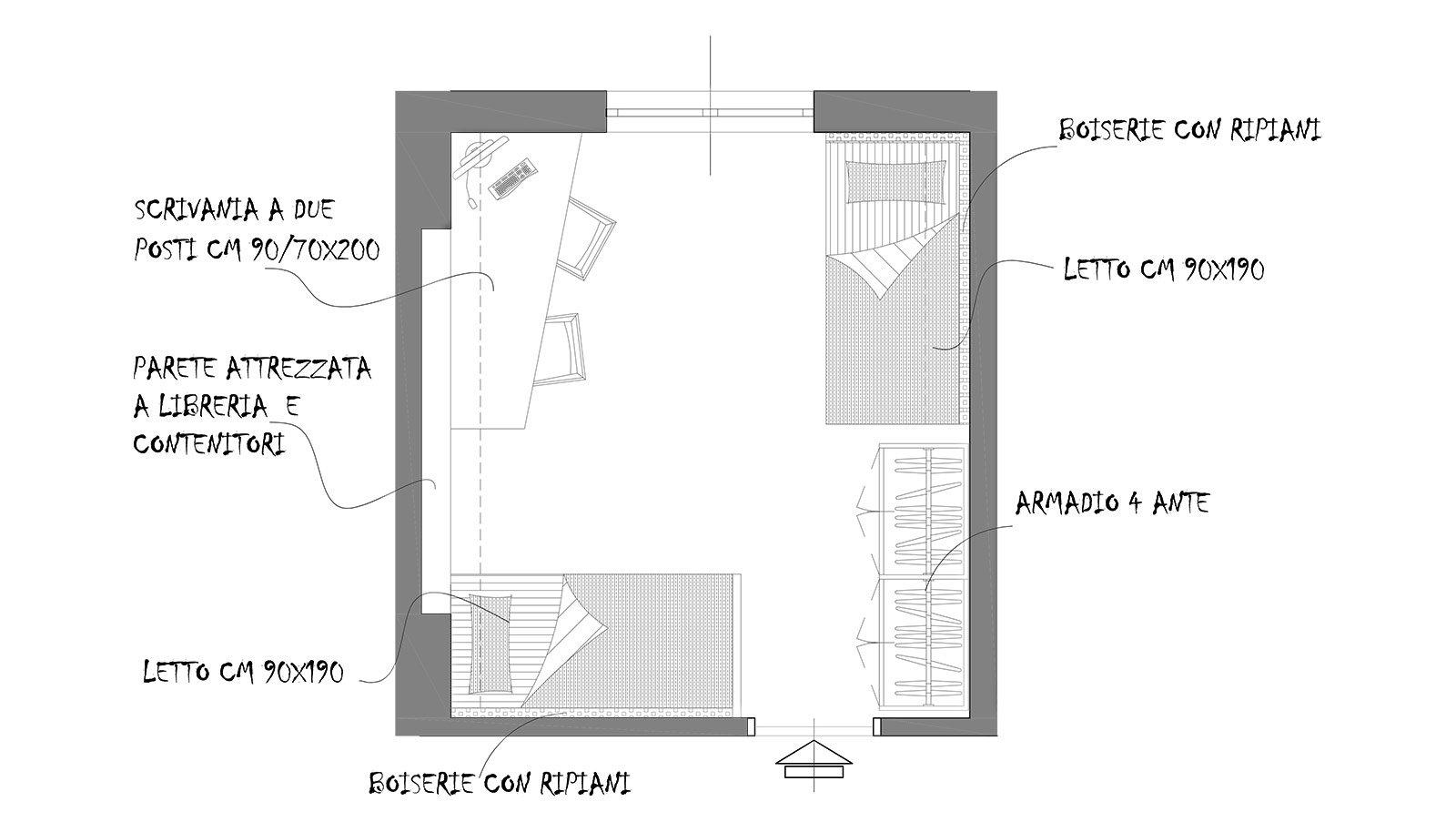 Una camera da attrezzare per due cose di casa - Camera da letto dimensioni ...