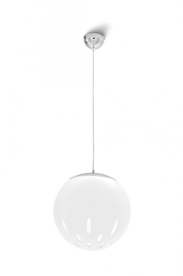 Il diffusore sferico della lampada Aries di Calligaris è in metacrilato bianco opale con fori ellittici, su struttura in metallo cromato. Misura L 40 x P 45 x H 200 cm. Prezzo 318 euro. www.calligaris.it