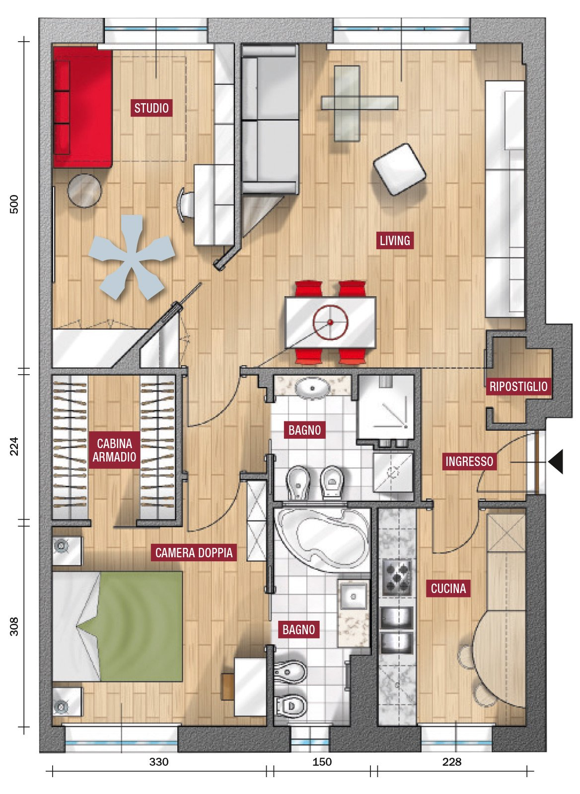 In 80 mq soggiorno pi ampio prima soluzione cose di casa for 6 piani di casa con 4 bagni