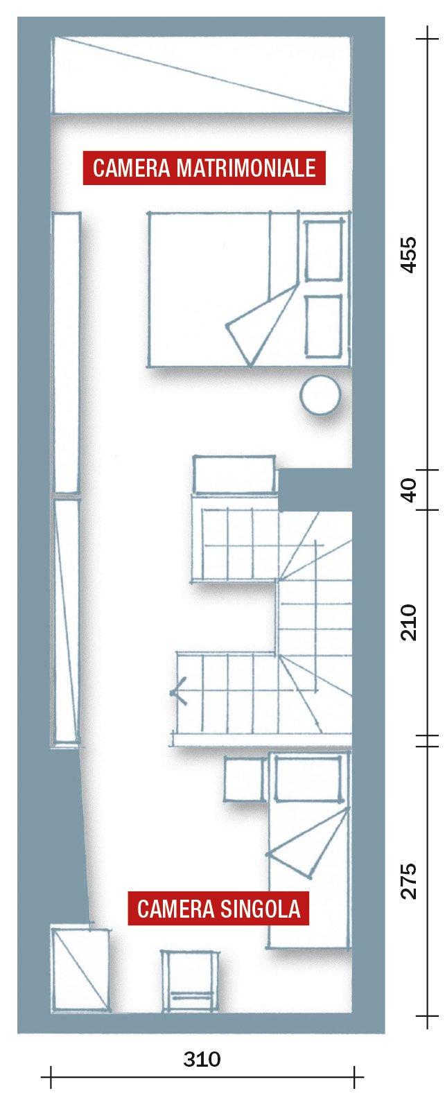 Casabook immobiliare una casa stretta e lunga che for Camera letto stretta e lunga