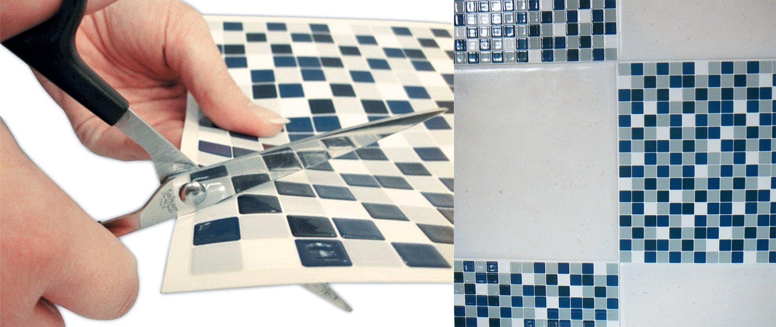 la piastrella adesiva a mosaico si applica senza collanti si lava con un qualsiasi detergente