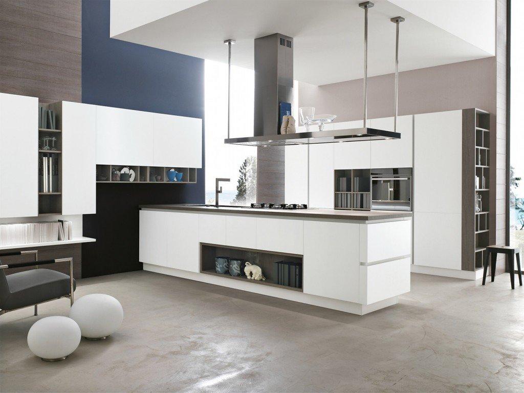 La Cucina Allegra Di Stosa In Laccato Opaco Bianco Prevede Elementi A  #454E5F 1024 768 Come Appendere Pensili Da Cucina