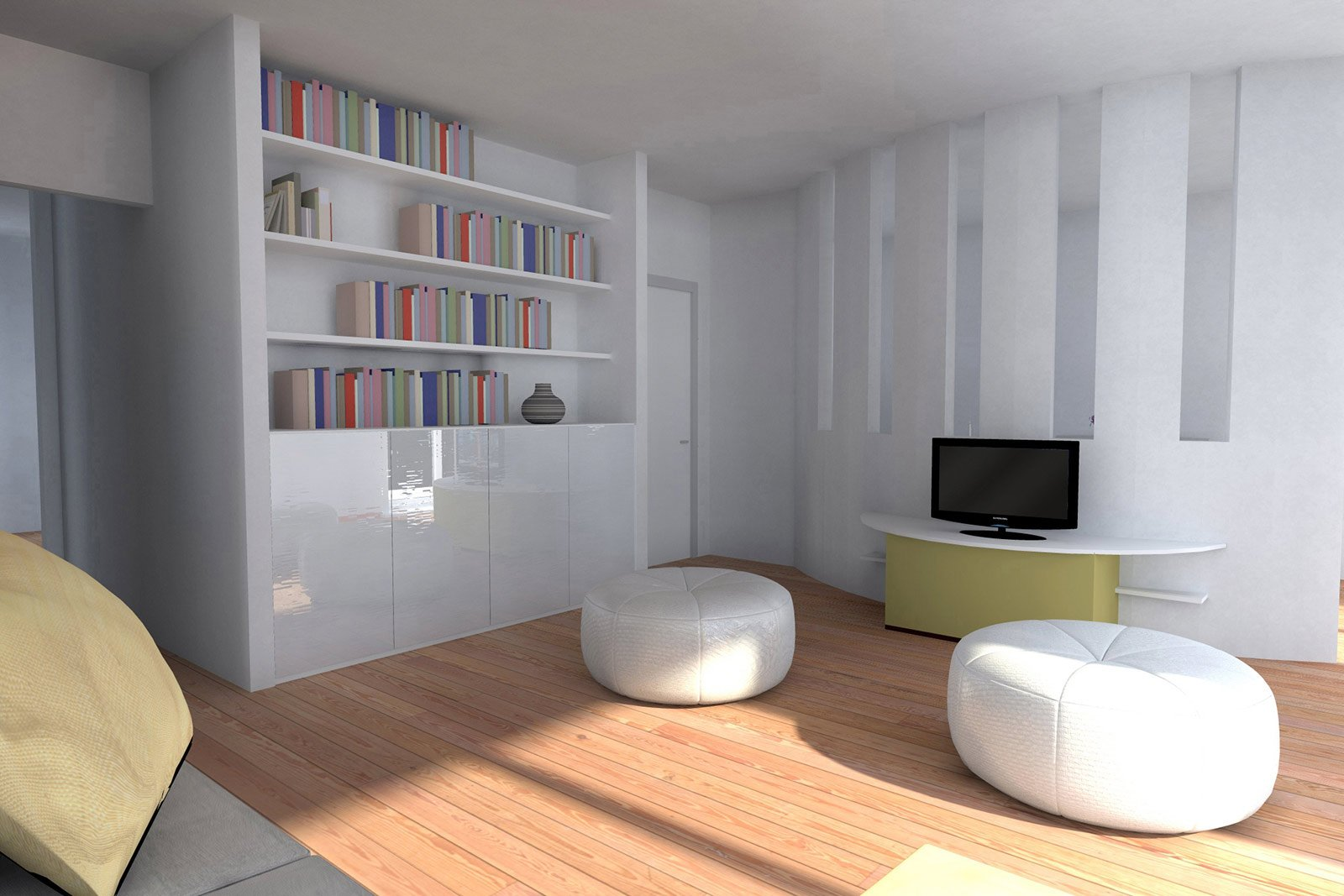 Doppia Parete In Vetrocemento : In 80 mq ampliare il soggiorno ...