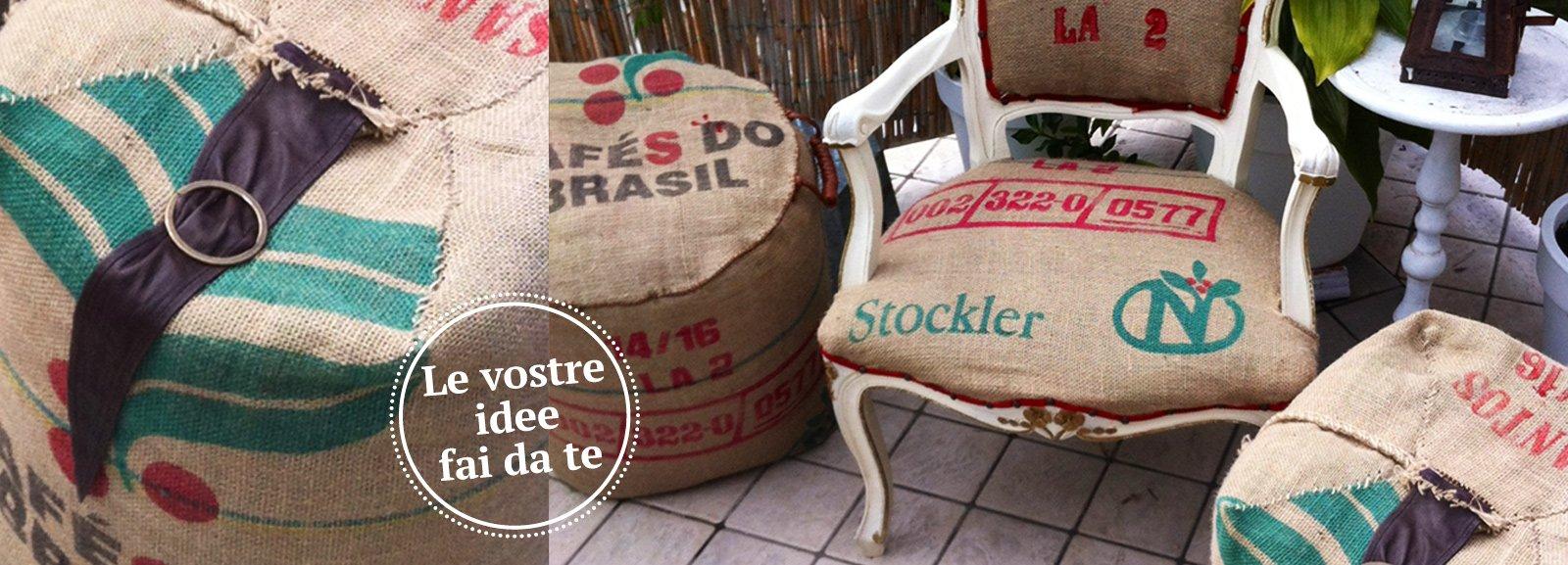 Poltroncina e pouf con rivestimento di recupero cose di casa - Tappezzare una sedia ...