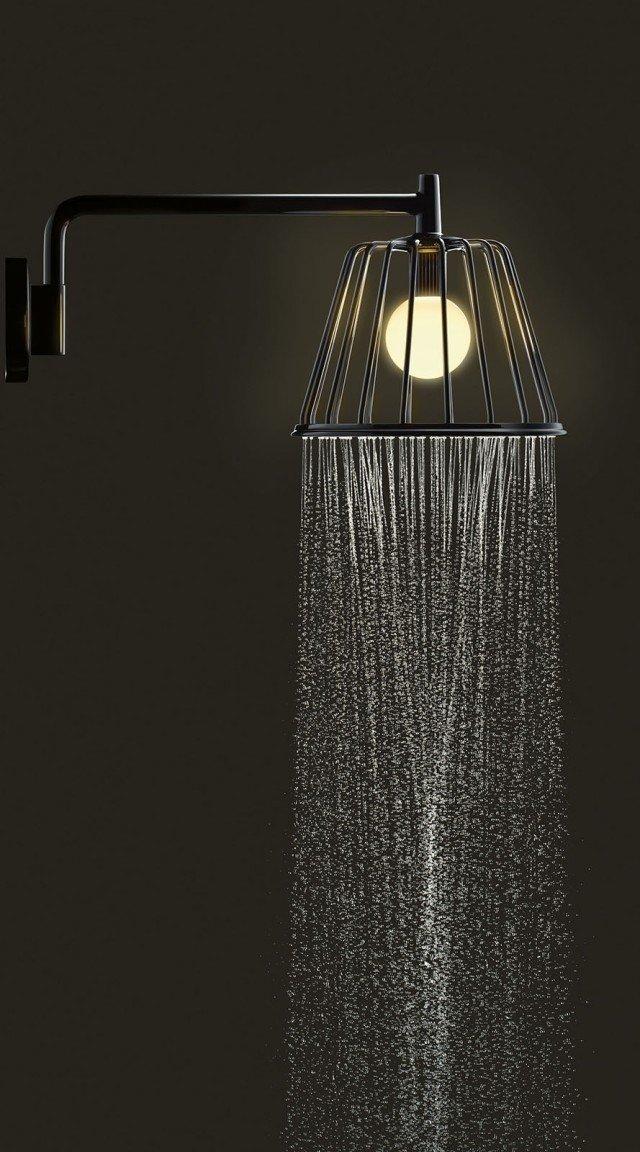 Soffioni per la doccia essenziali e anche luminosi cose di casa - Soffione doccia soffitto ...