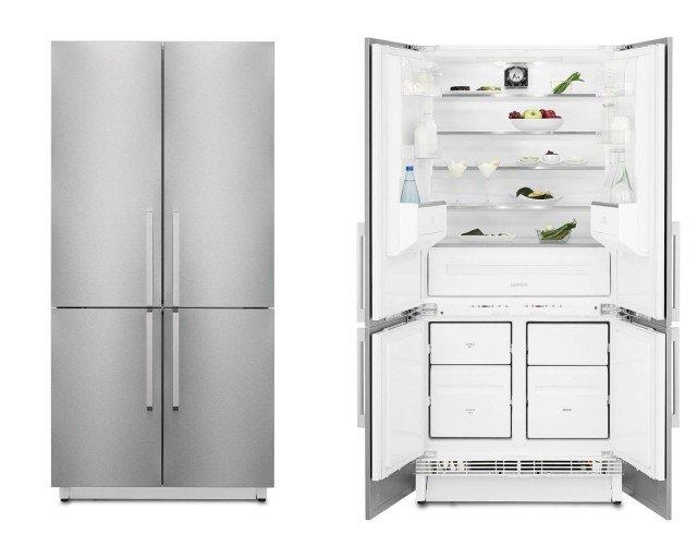 Il frigocongelatore a quattroporte FI5004NXA+ di Electrolux Rex è in classe A+ e è dotato di sistema di ventilazione che mantiene la temperatura uniforme in tutto il vano con il giusto grado di umidità, per la conservazione ottimale dei cibi freschi. Ha anche la funzione FastFreeze, che riduce la temperatura fino a portarla al livello corretto per congelare gli alimenti freschi prima di tornare in modo automatico all'impostazione standard. Misura L 89 x P 100 x H 190-195 cm. Prezzo da rivenditore. www.electrolux-rex.it