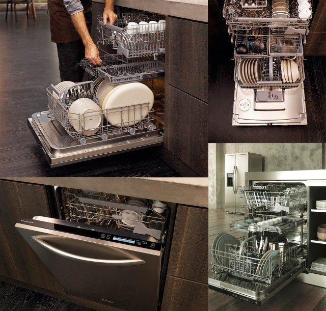 Grazie a una progettazione accurata che ricava il 40% di spazio interno in più rispetto a una lavastoviglie standard, la lavastoviglie Xxlence di KitchenAid può ospitare fino a 17 coperti. Ha 10 zone di lavaggio, 7 cestelli e 4 ripiani flessibili, che la rendono estremamente versatile perché consente di modulare lo spazio interno a seconda delle proprie esigenze. E' dotata anche dell'opzione Time Saver che permette di risparmiare dai 30 agli 80 minuti riducendo i cicli di lavaggio dei programmi. Prezzo da rivenditore. www.kitchenaid.it