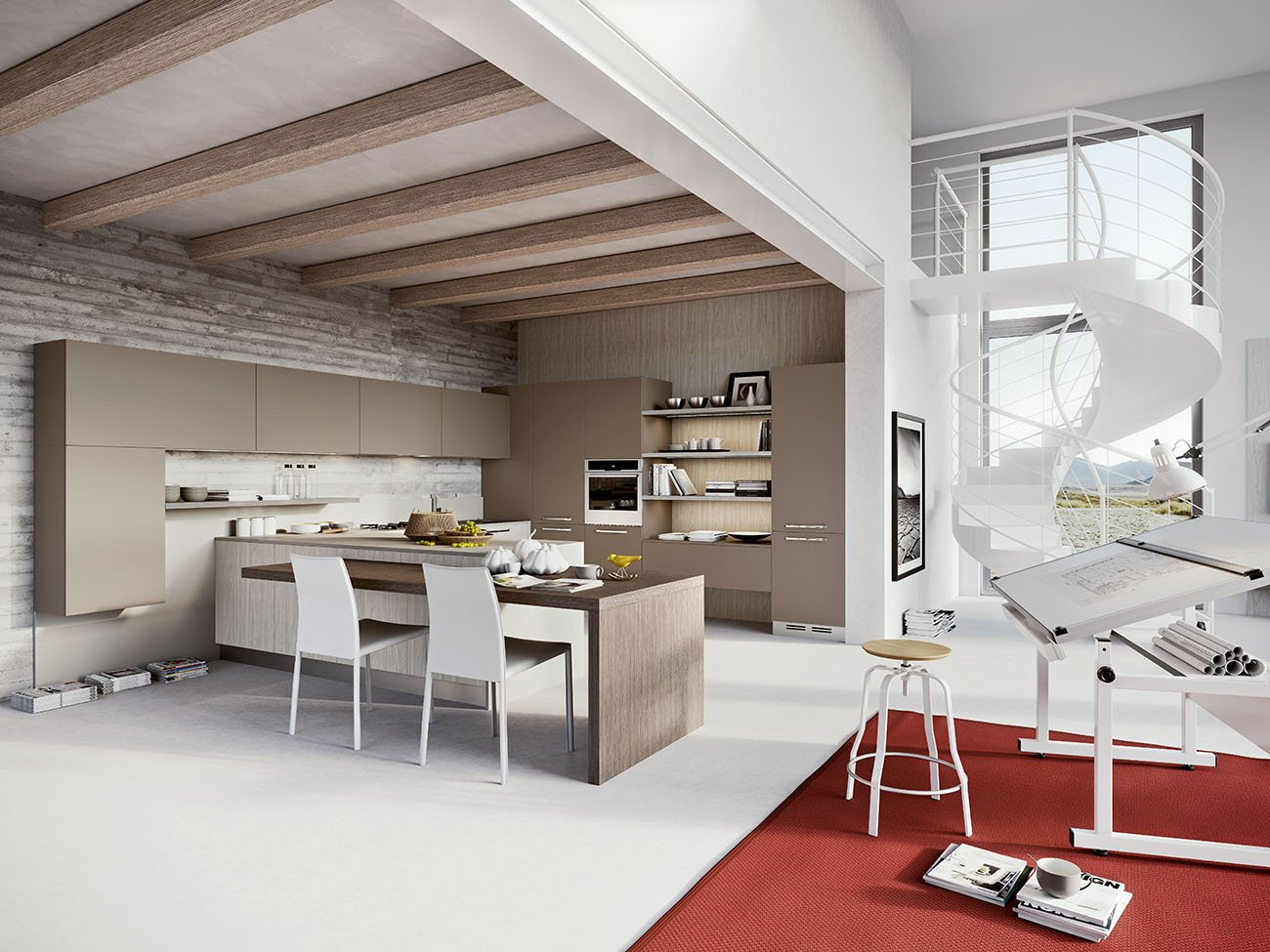 Nella Cucina Luna Di Arredo3 Colonne E Pensili Con Ante In Laminato  #933F38 1300 975 Pensili Da Cucina Con Ante In Vetro