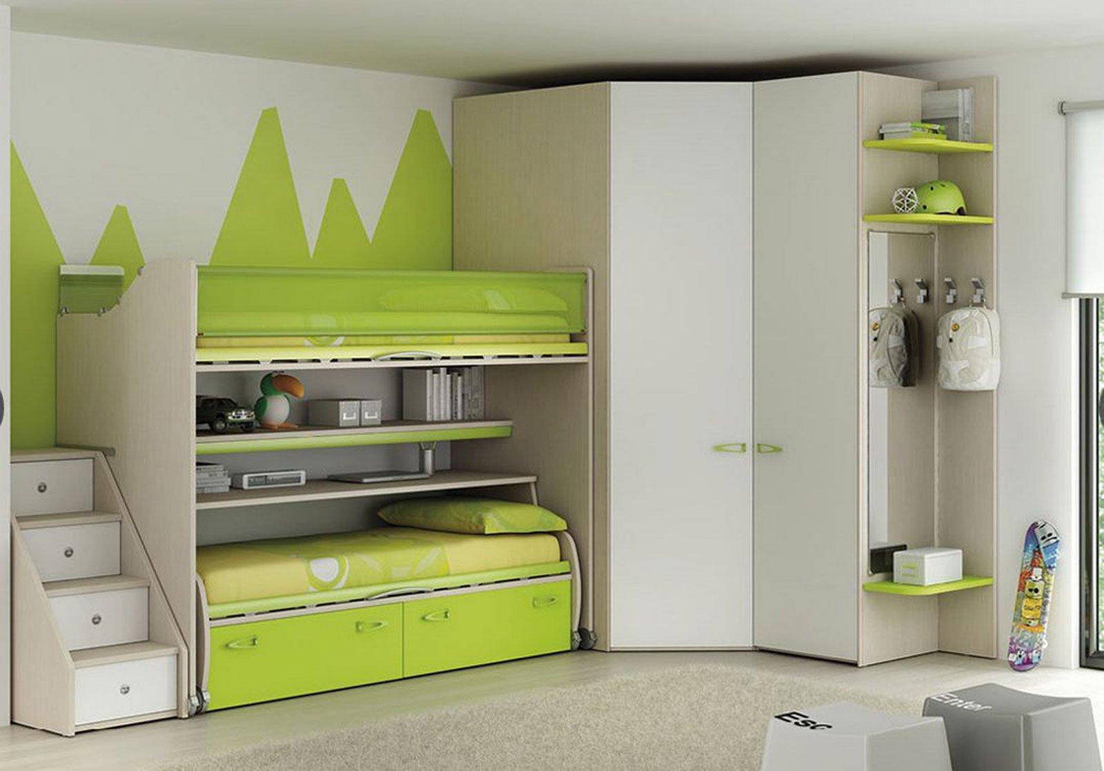 Camerette salvaspazio cose di casa for Piani di cabina di tronchi di 2 camere da letto