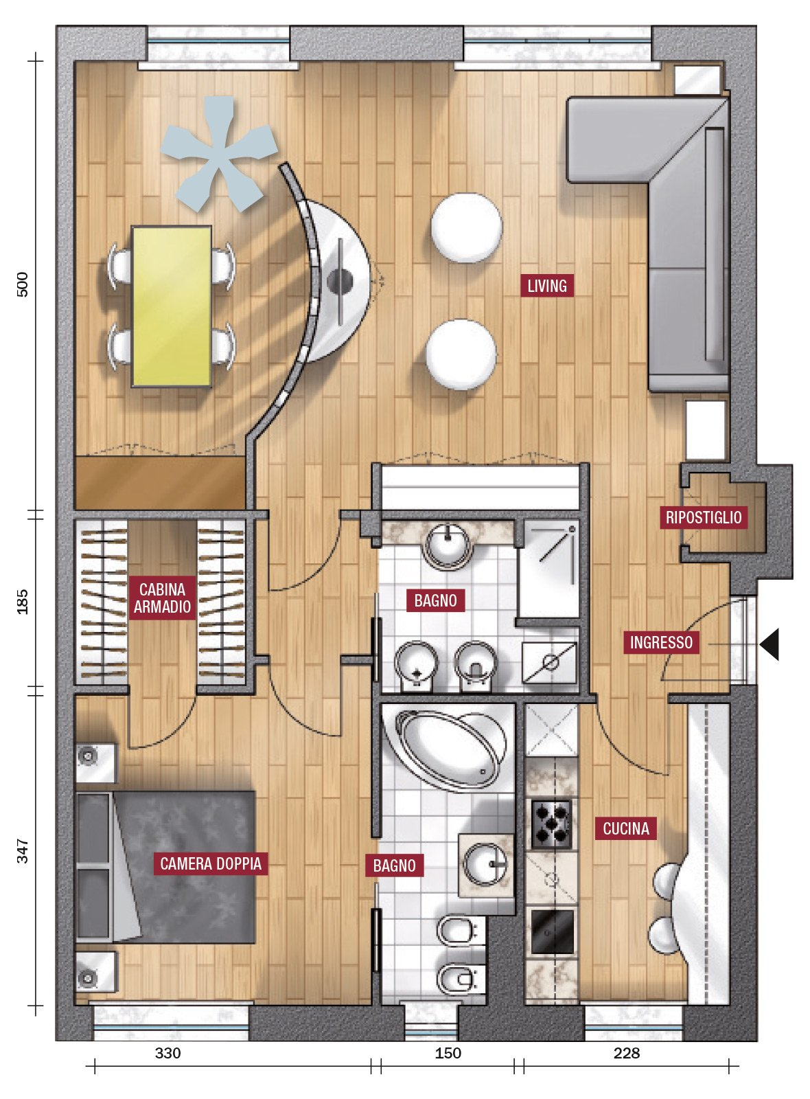 In 80 mq ampliare il soggiorno seconda proposta cose di for 2 piani letto 2 bagni