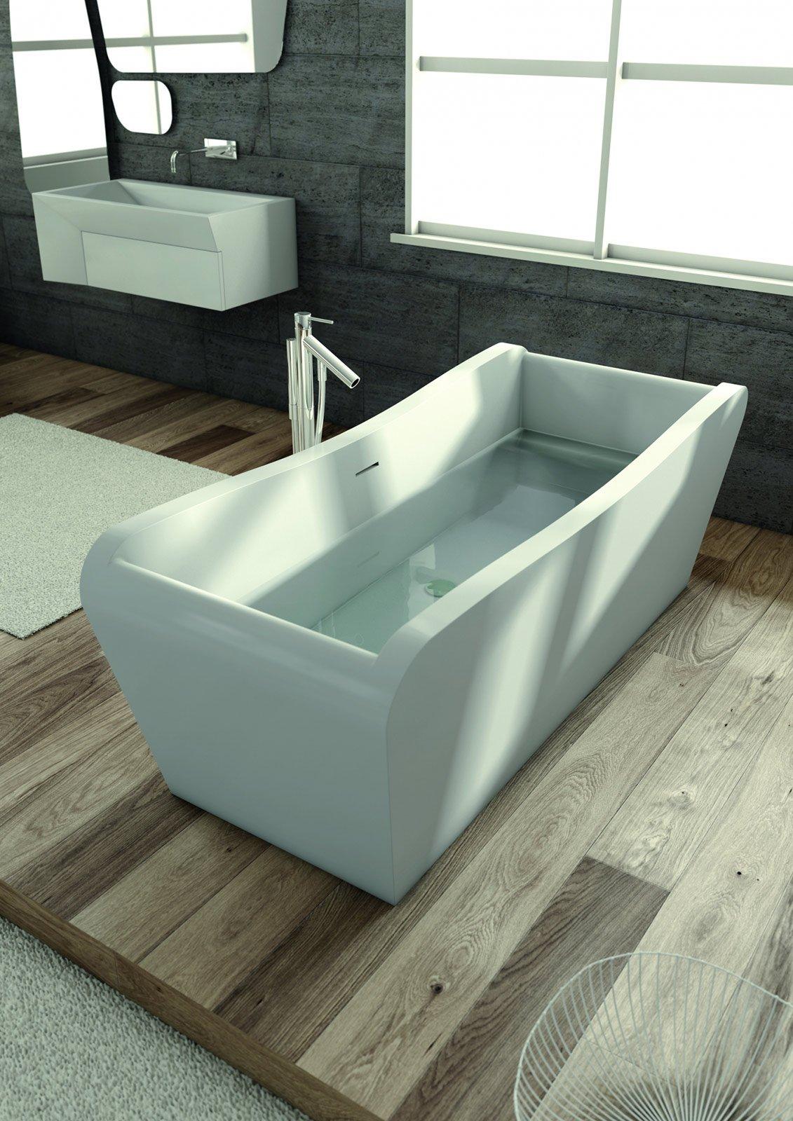 realizzata in corian brevettato da dupont la vasca amaca di planit ha