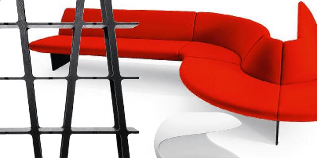 Soggiorno: design in nero, bianco e rosso