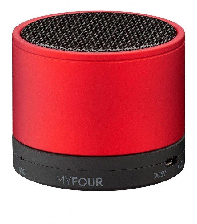 Speaker portatile di Myfour con tecnologia Bluetooth®, è appositamente studiato per essere portato in viaggio, grazie alle dimensioni ridotte e alla custodia anti-urto. Funziona senza cavi, ha un'autonomia di 7 ore talking time e 10 metri di portata. Può essere usato per parlare in vivavoce da pc o da telefono, e ha una potenza di 3Watt che garantisce un suono naturale. Proposto in 4 colori, misura H 5 cm e pesa 230 gr. Prezzo, comprese le spese di spedizione: 39,90 euro. www.myfour.com