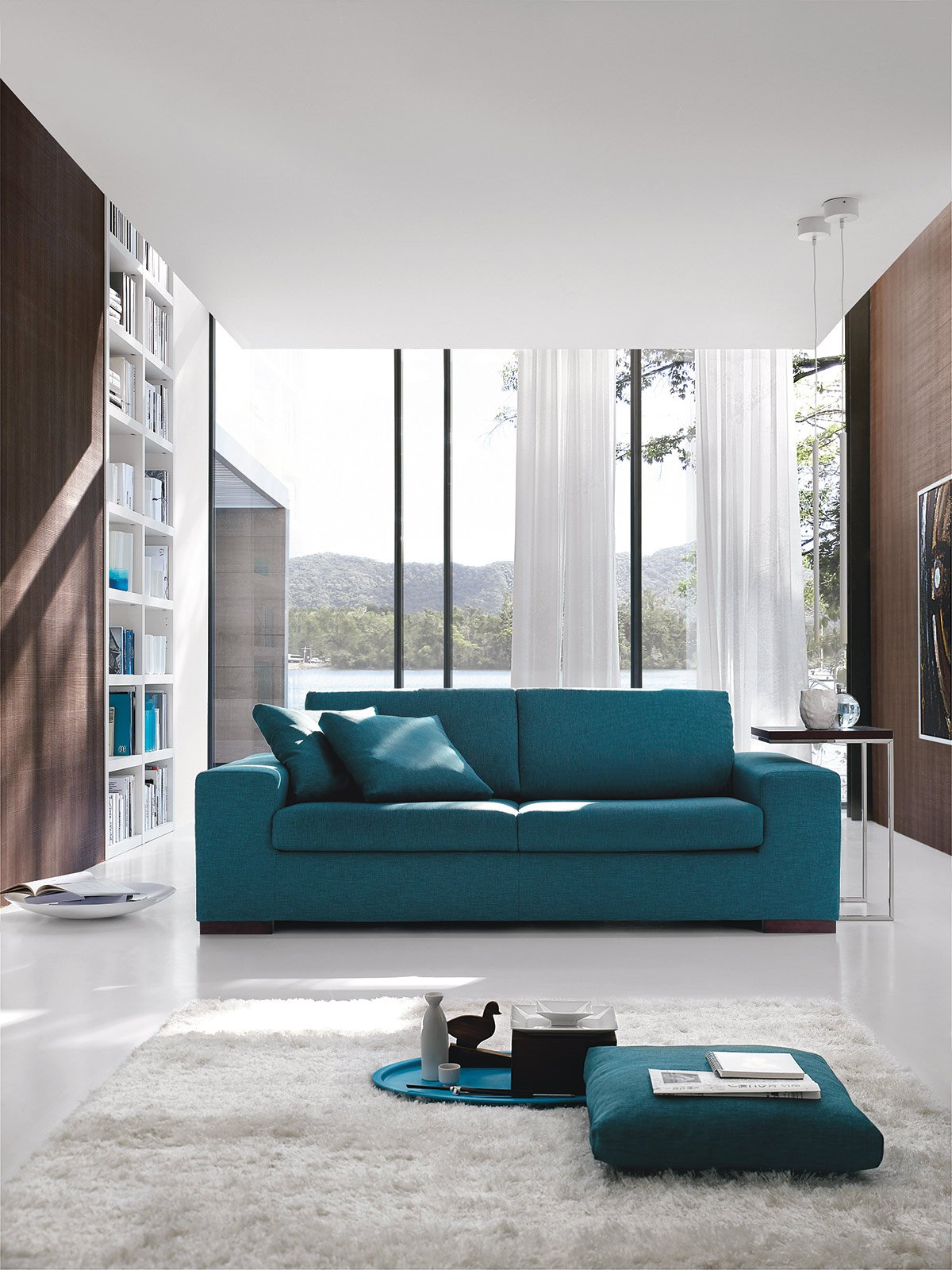 Divani blu cose di casa - Salotto con divano blu ...