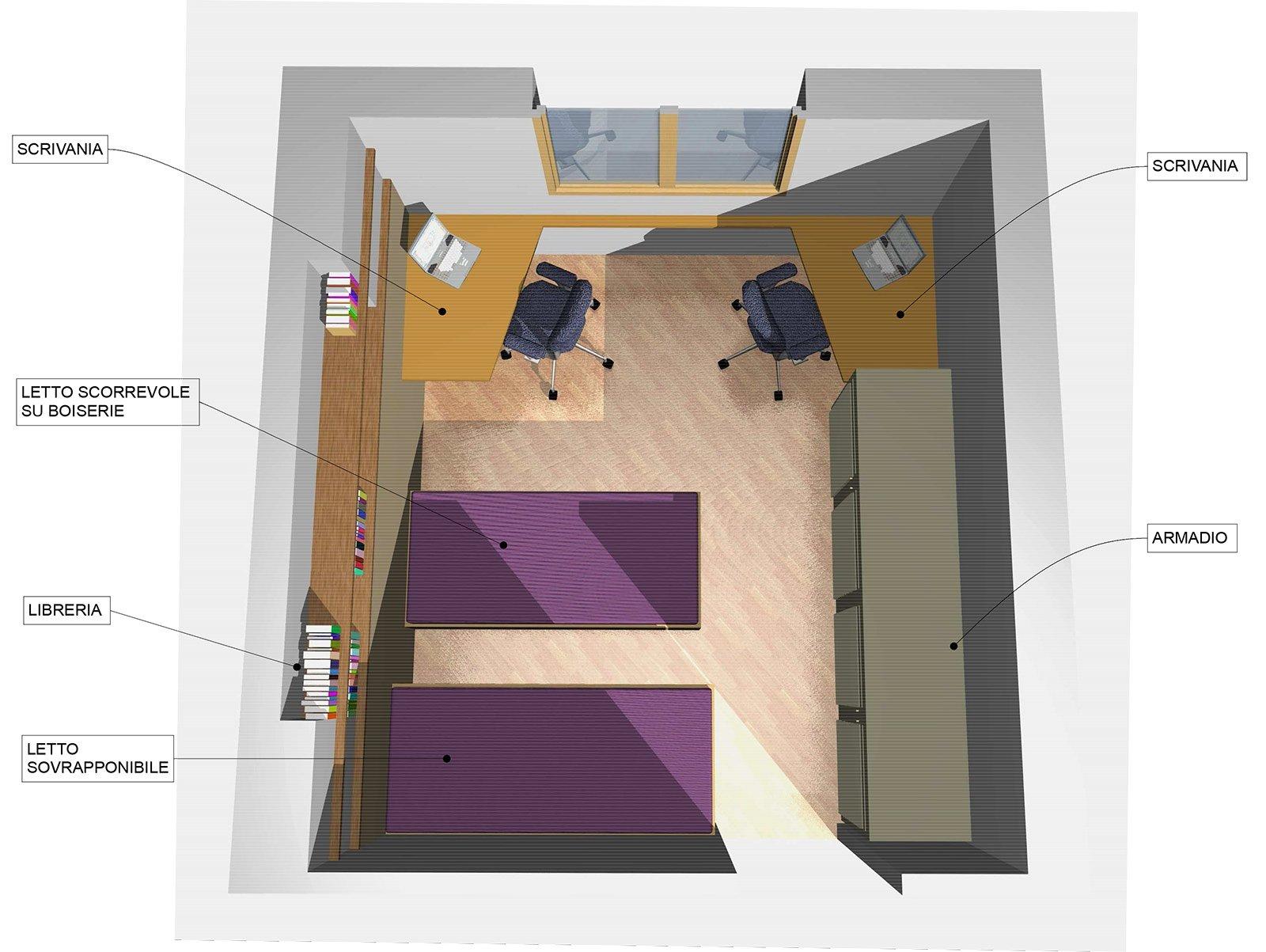 Pianta Camera Da Letto Con Misure : Una camera da attrezzare per due cose di casa