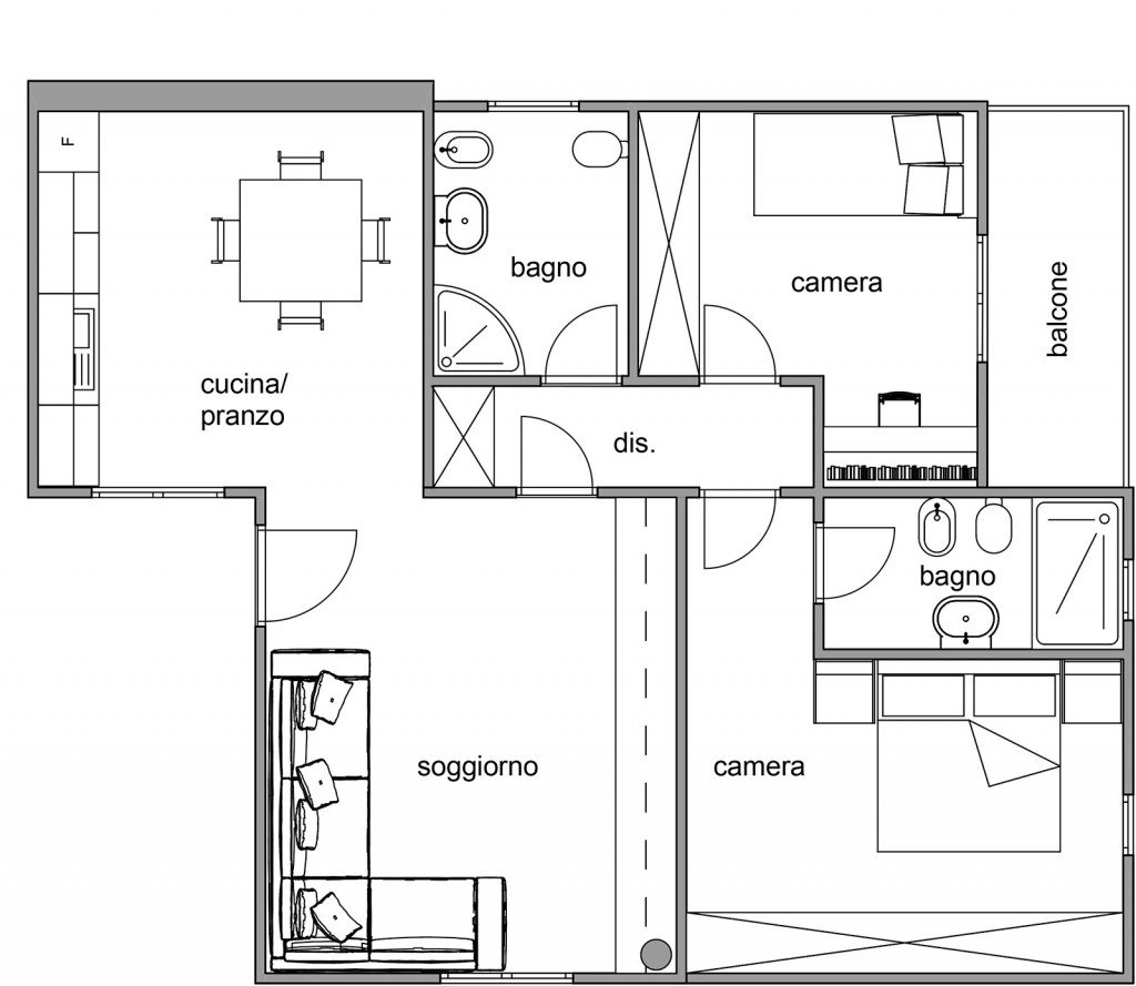 Via il corridoio ma serve un disimpegno cose di casa - Disegno pianta casa ...