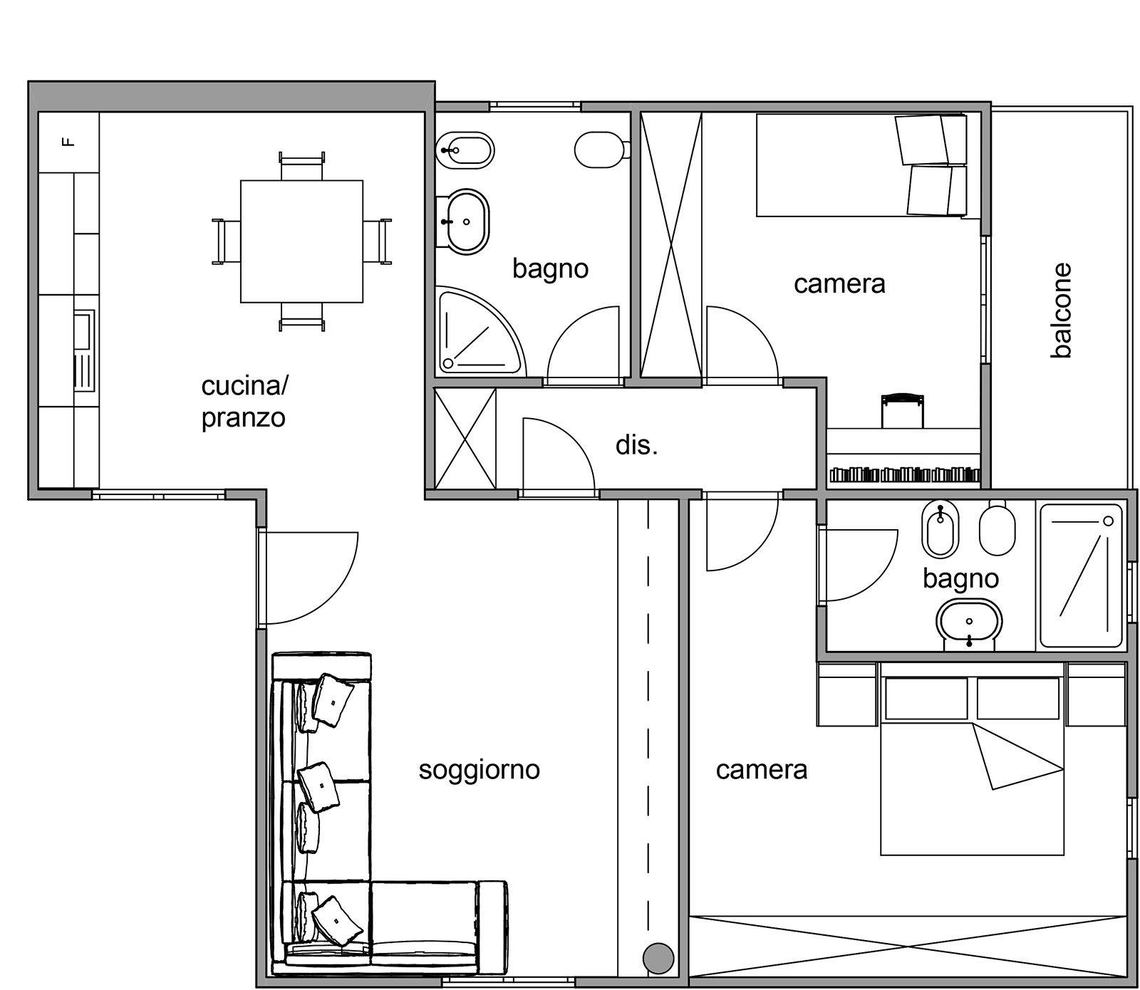 Via il corridoio ma serve un disimpegno cose di casa for Disegno di piano piano di 2 camere da letto