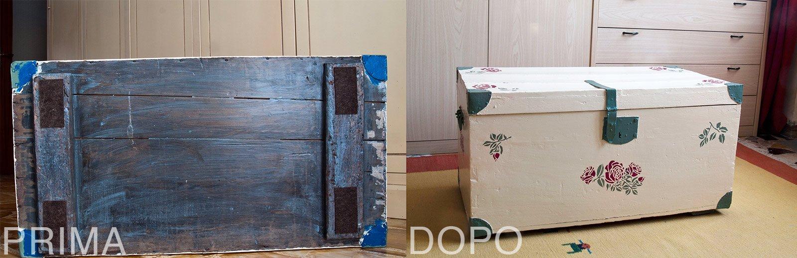 Il baule ridipinto per contenere e arredare cose di casa - Mobili in cartone pressato ...