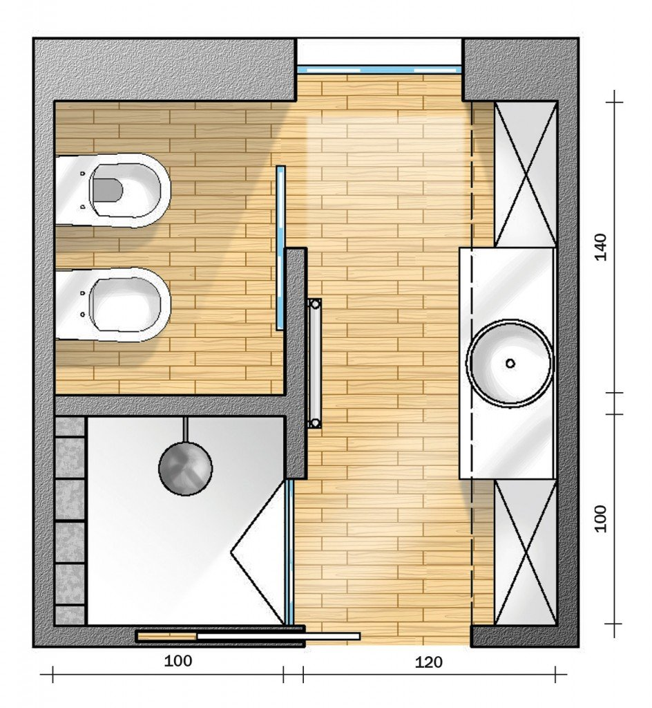 Bagno con pianta del progetto e costi dei lavori seconda for 2 br 2 piani casa bagno