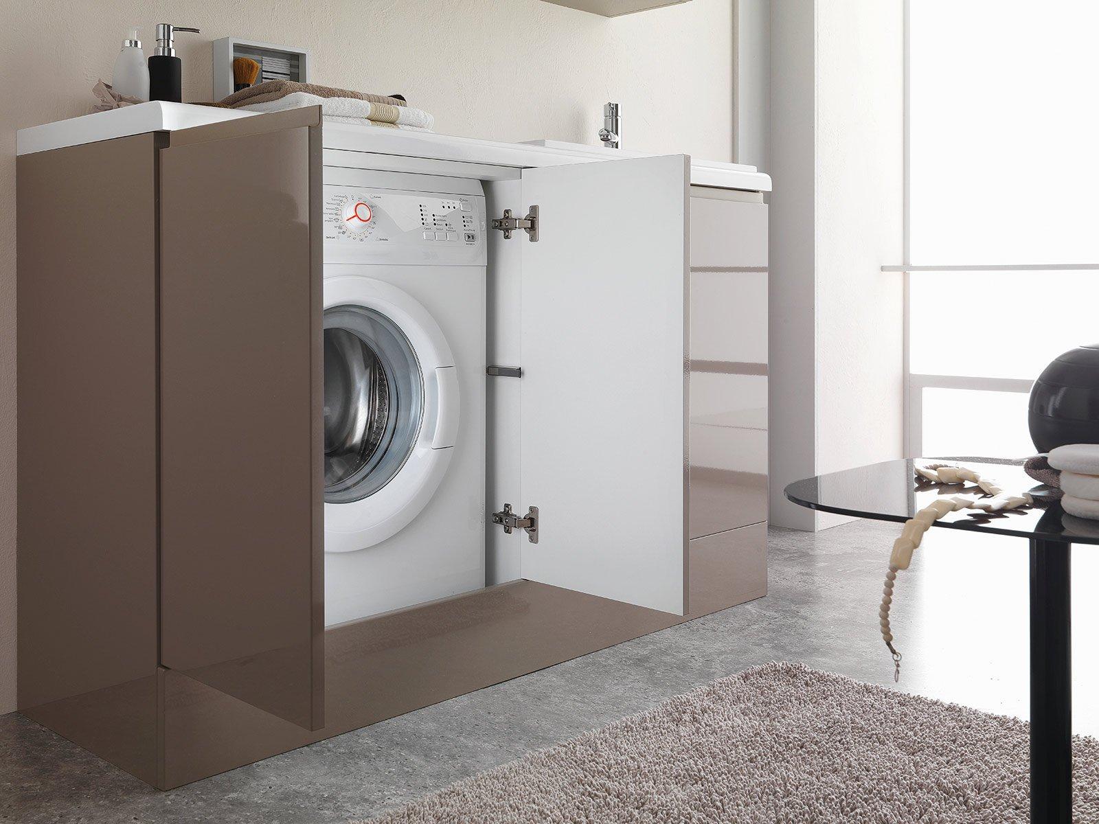la base per la lavatrice compact di geromin ha scocca in mdf rivestita in pvc lucido