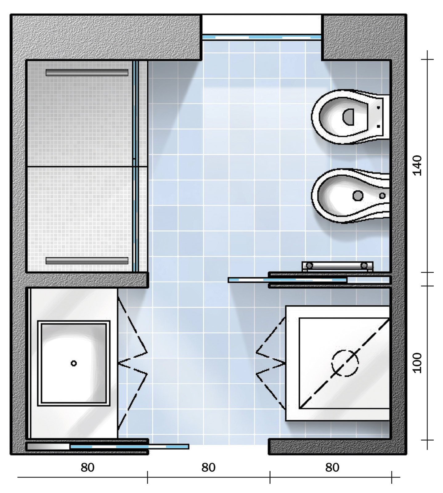 Bagno con pianta del progetto e costi dei lavori prima for Disegnare la pianta del piano di casa
