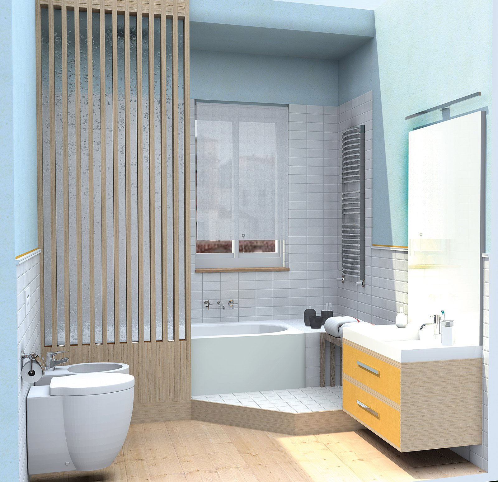 La doccia con soffione laterale a parete è protetta dalla lastra di ...