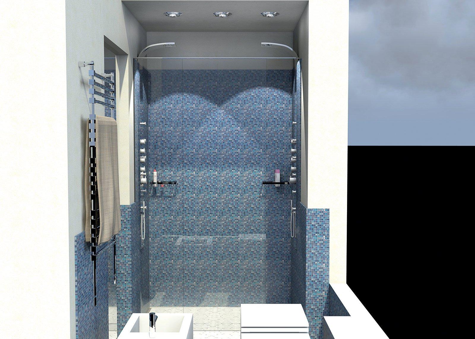 Bagno con pianta del progetto e costi dei lavori prima soluzione cose di casa - Illuminazione doccia con led ...