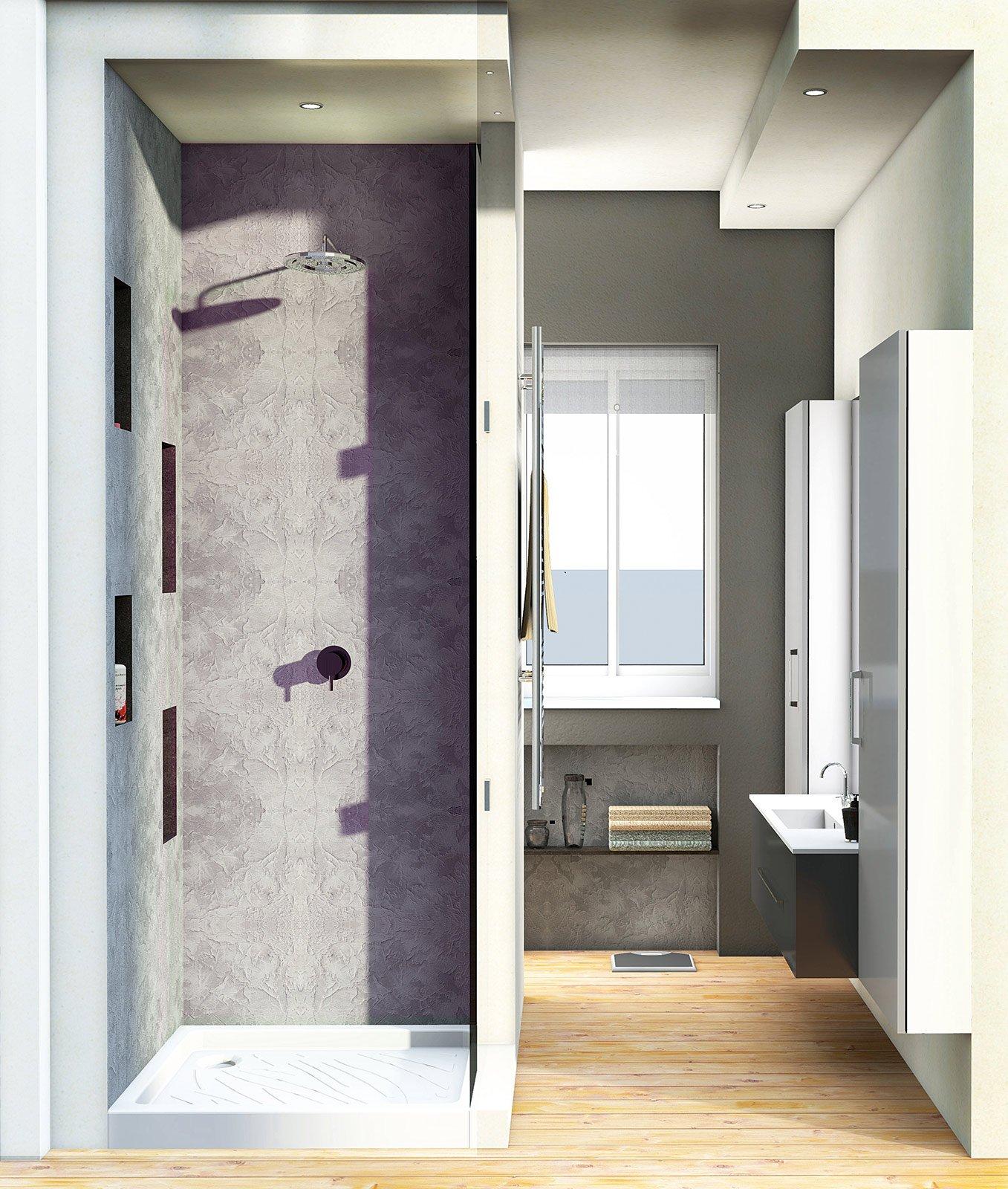 Bagno con pianta del progetto e costi dei lavori seconda - Soluzioni doccia finestra ...