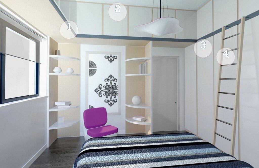 Camera da letto sfruttare l altezza per contenere cose di casa - Altezza parapetti finestre normativa ...