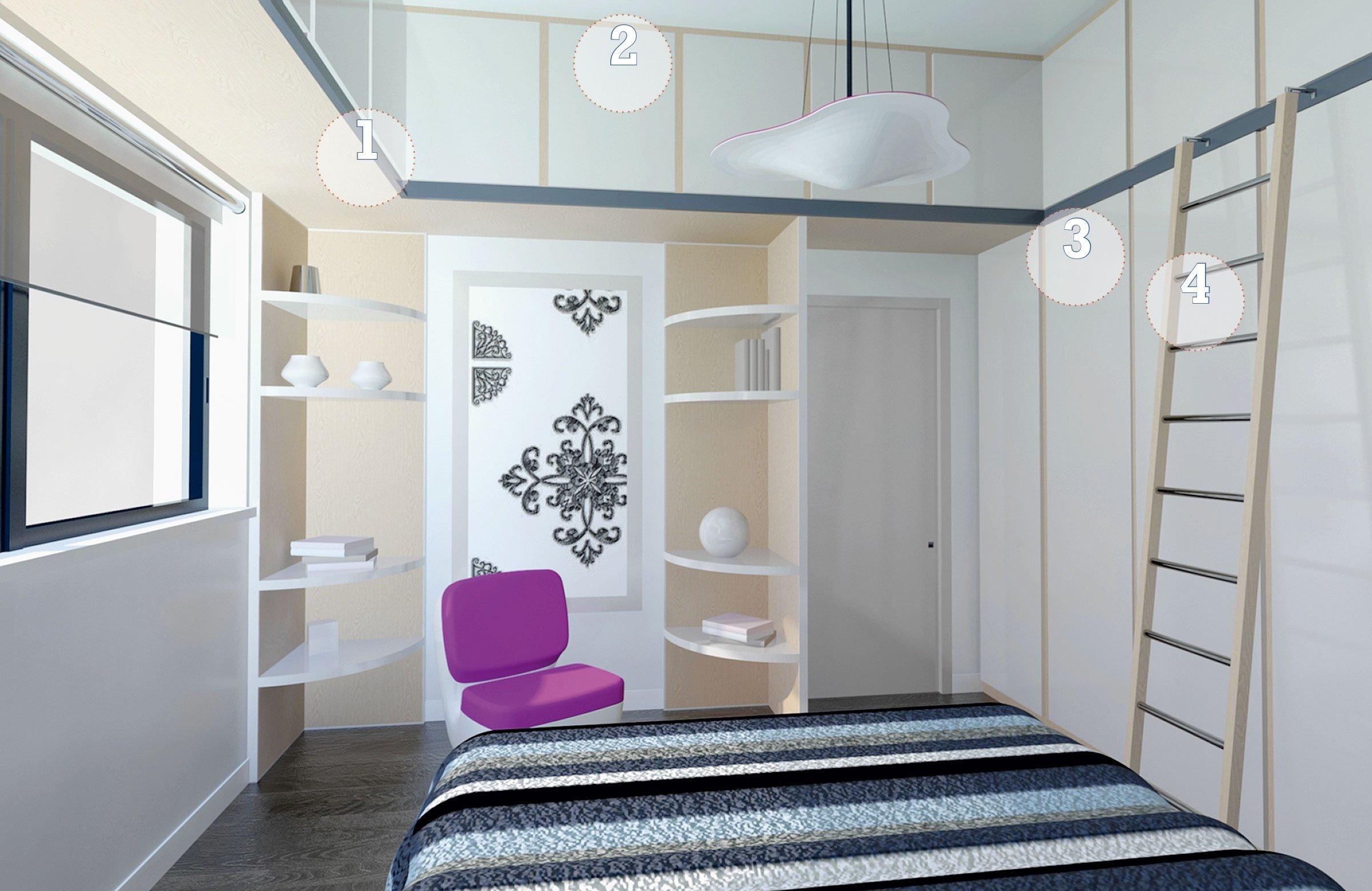 Camera da letto sfruttare l altezza per contenere cose for Arredare stanza piccola