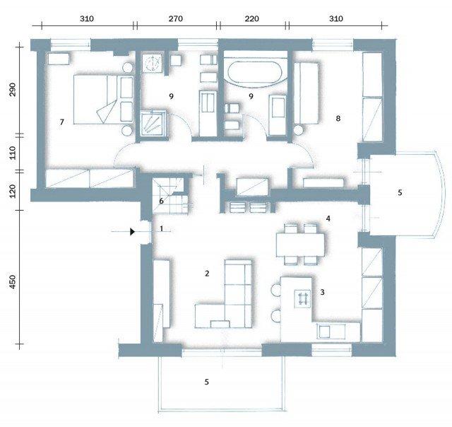 90 10 mq per una casa che sfrutta bene gli spazi cose di - Pianta casa 90 mq ...