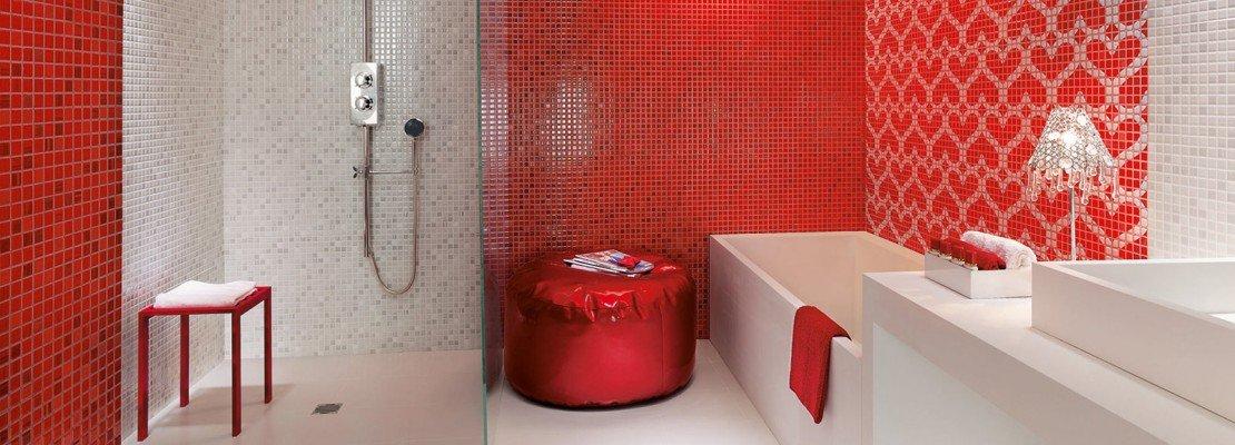 Bagno: rosso per piastrelle, sanitari, complementi   cose di casa