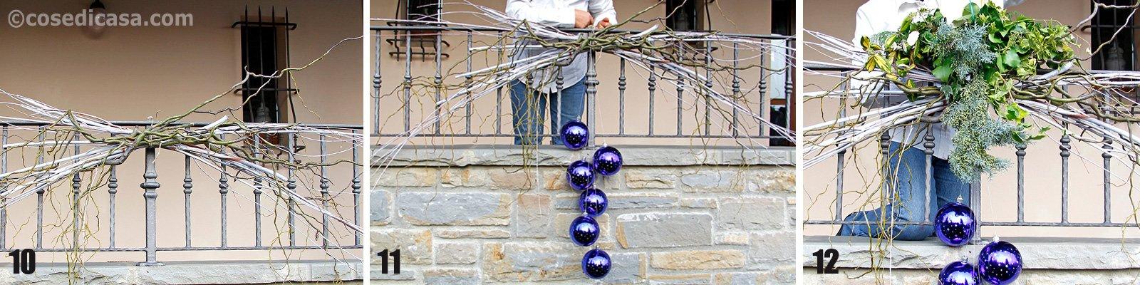 Decorazioni Natalizie Balconi.Decorazione Natalizia Per Il Balcone Rametti Palle Candele Cose Di Casa
