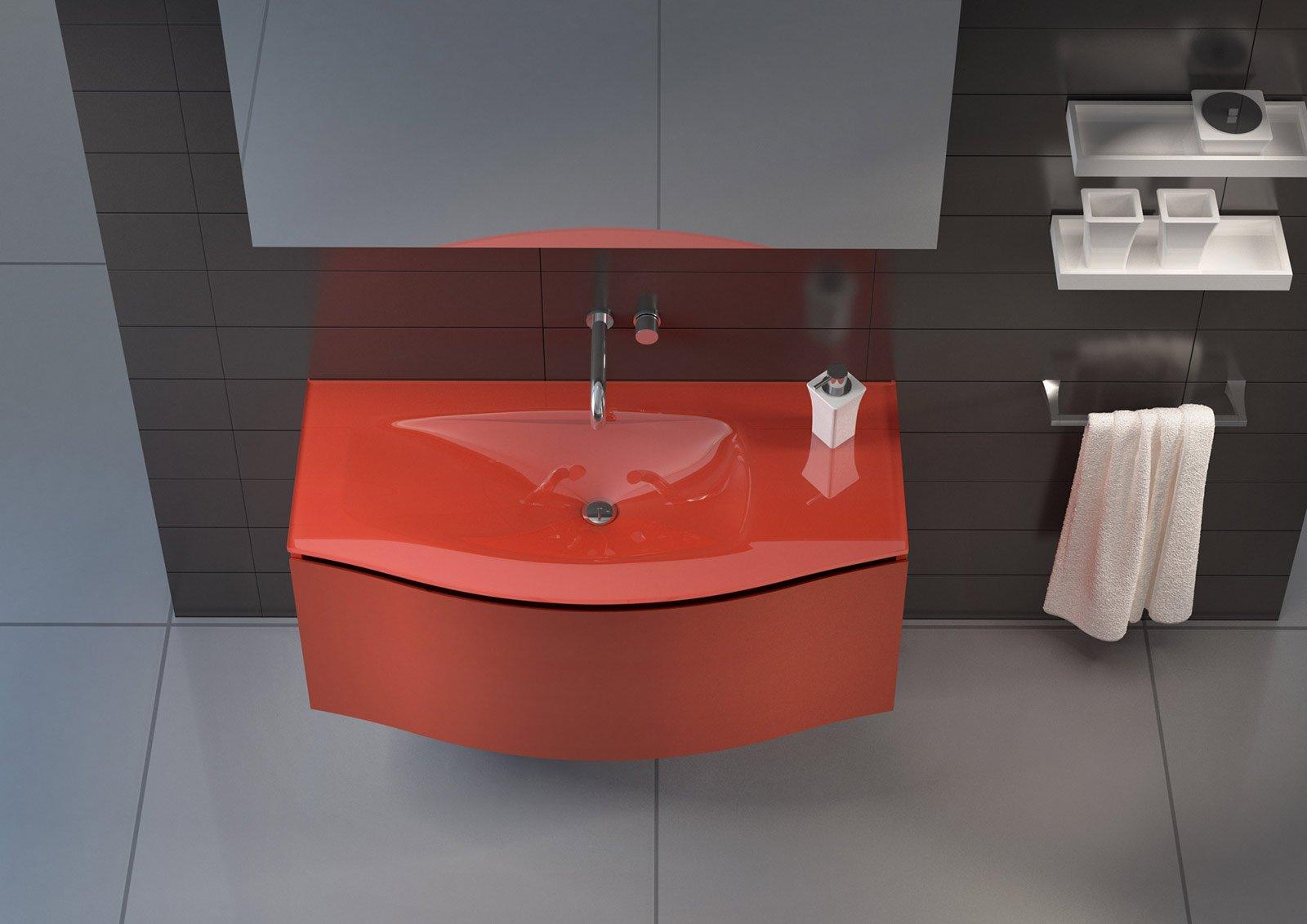 realizzato in vetro il piano lavabo integrato della collezione batik light di regia la