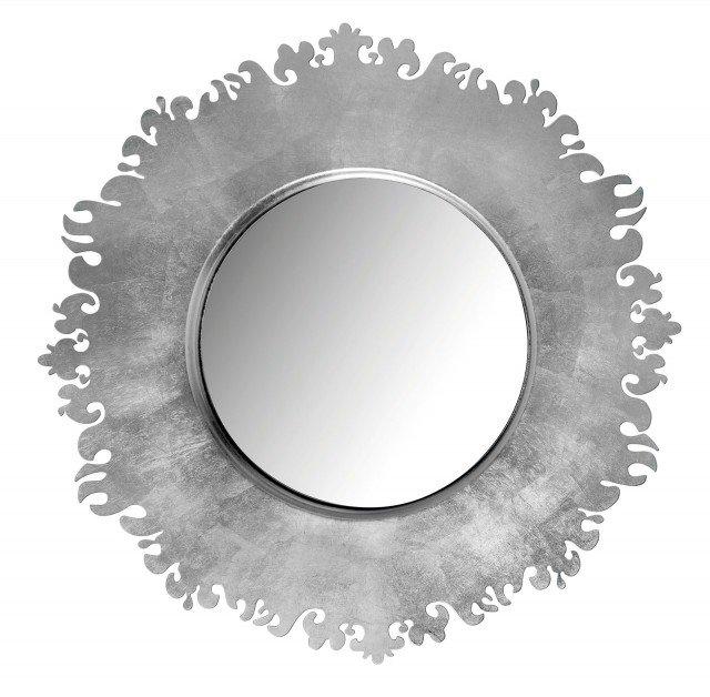 Ha un'importante cornice in metallo foglia argento lo specchio che misura Ø 95 x H 5 cm e costa 364 euro Kelly di Arti & Mestieri   www.artiemestieri.it
