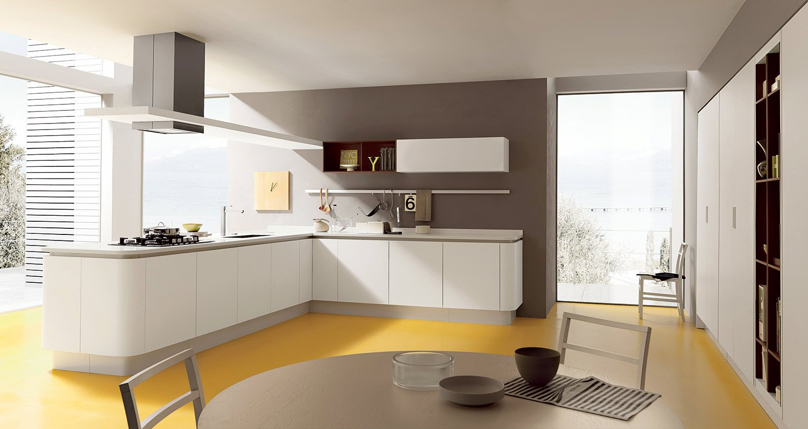 Cucina Bianca Cucina Con Cappa A Soffitto Cucina Ad Isola Pictures To  #AE841D 1600 851 Cucine Moderne Ad Angolo Con Finestra