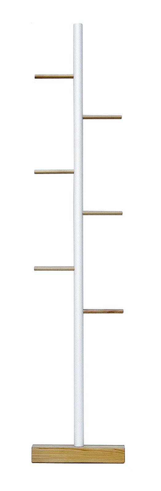Si appoggia a una parete ed è pronto all'utilizzo l'appendiabiti in legno massello di faggio con la piantana centrale verniciata di bianco; misura L 45 x P 6 x H 190 cm e costa 103 euro Dorei di Valsecchi www.valsecchispa.it