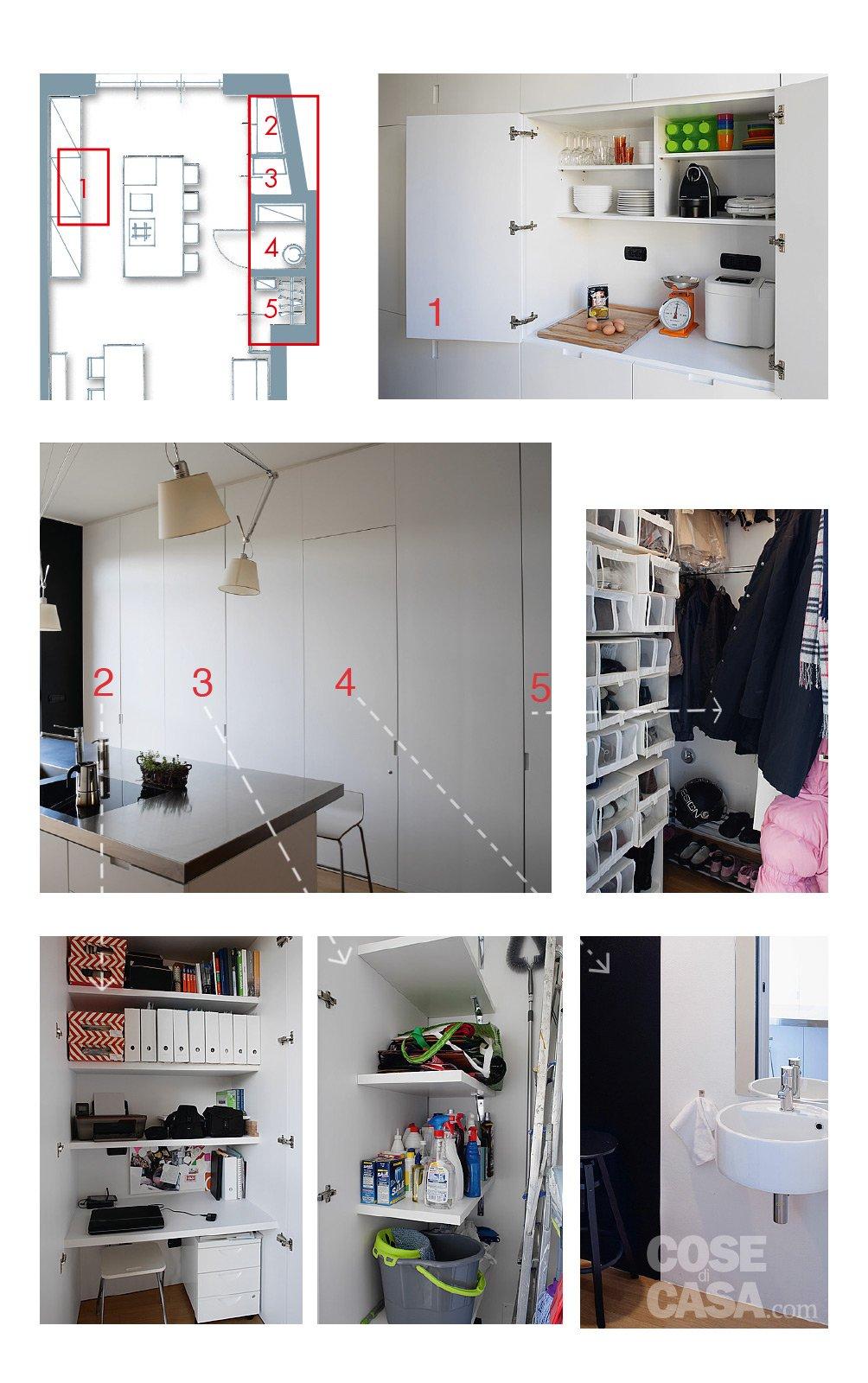 60 50 mq una casa con elementi a scomparsa cose di casa - Montaggio cucina ikea ...
