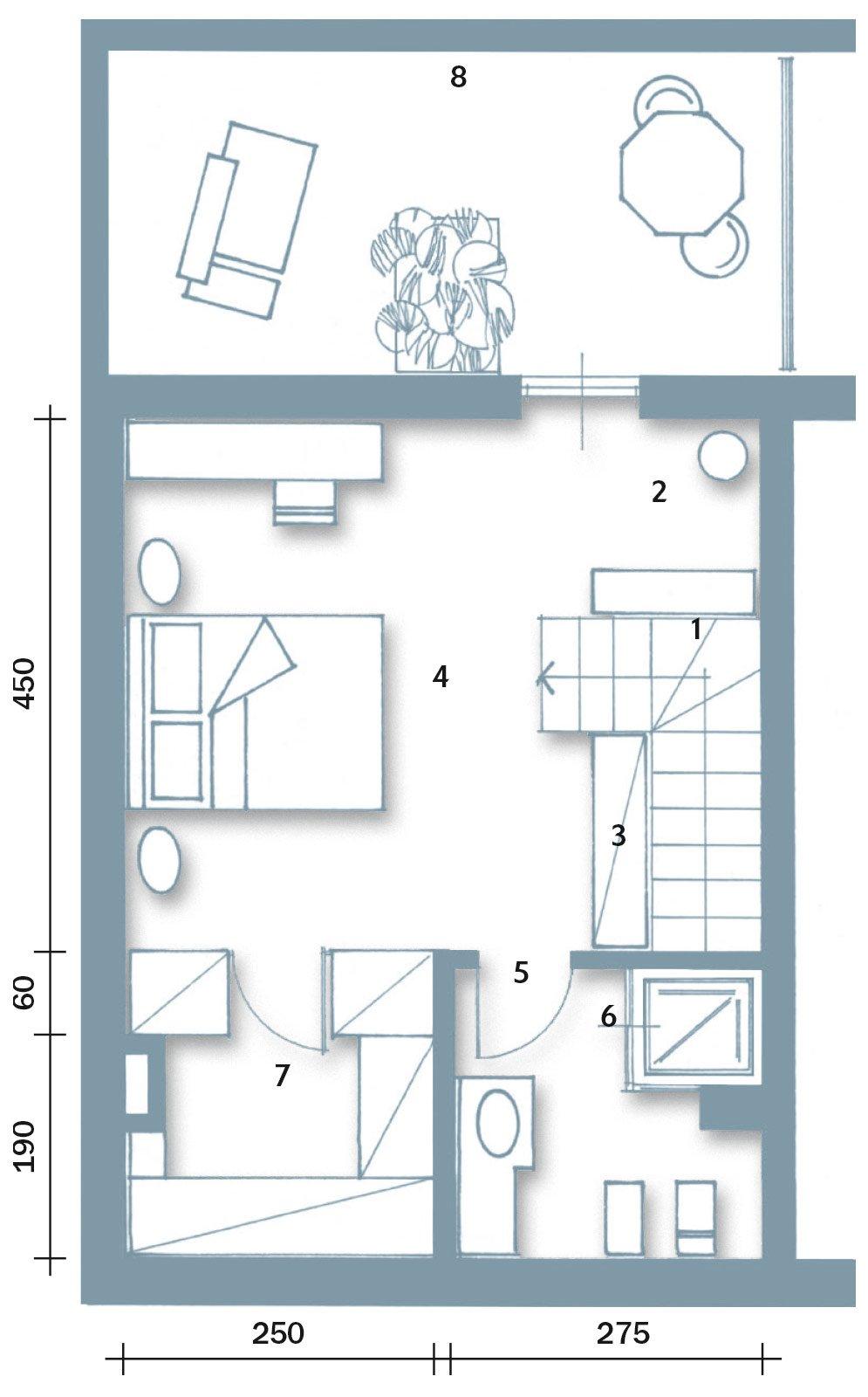 Una casa con zona giorno open space e camera sottotetto for Piani di casa con veranda