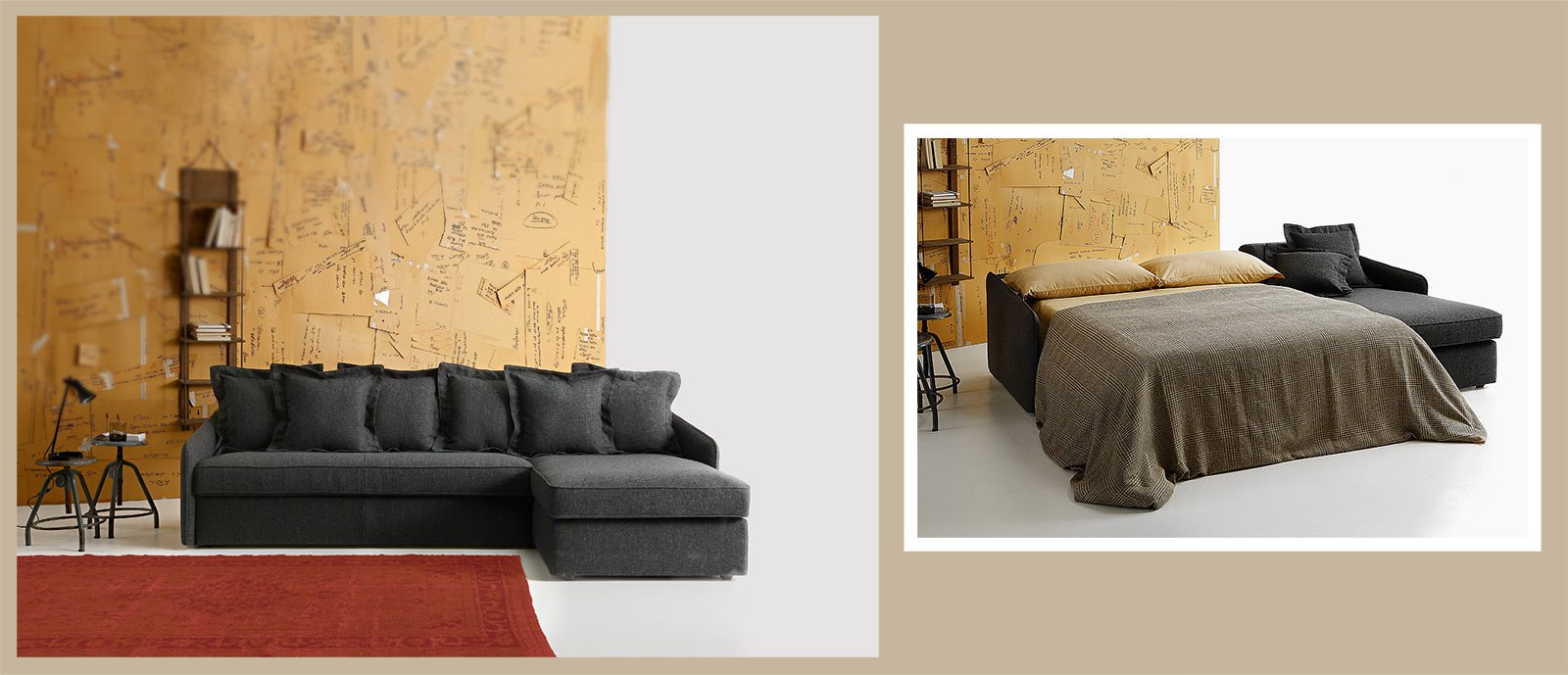 Divano o letto imbottiti trasformabili cose di casa - Spalliera letto con cuscini ...