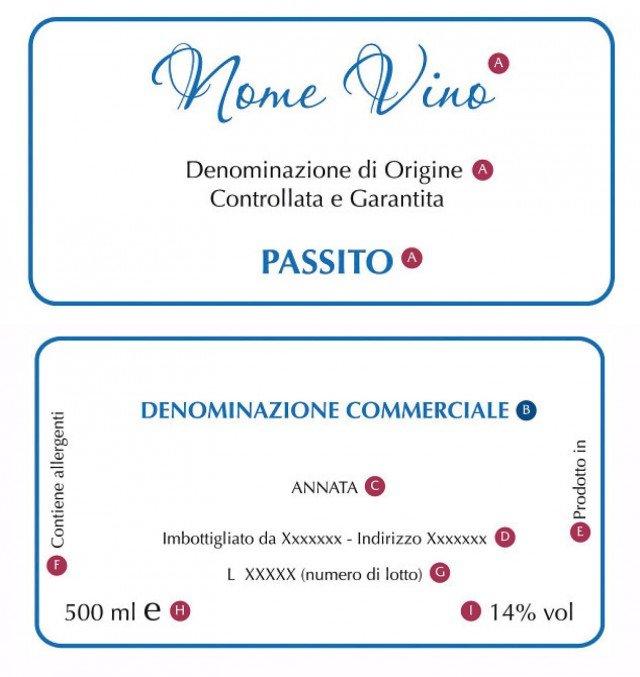 """A Nome del vino  con espressione """"Denominazione  di Origine Controllata"""" (DOC) o """"Denominazione di Origine Controllata e Garantita"""" (DOCG), oppure Denominazione di Origine Protetta (DOP) o indicazione Geografica Protetta (IGP) B Denominazione commerciale - C Annata Obbligatoria per DOC e DOCG, Facoltativa per IGT - D Nome o marchio con indirizzo dell'imbottigliatore-  E Origine e provenienza - F indicazione su allergenti (solfiti) - G Lotto -  H Quantità netta  - I Tenore di alcol in volume %"""
