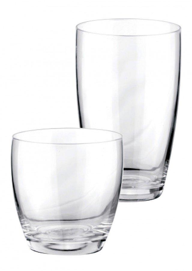 Informali, i bicchieri senza stelo sono adatti a tutte le tavole;  per le occasioni d'invito bisogna sempre affiancarne due,  per acqua e vino. Hanno forme semplici che si adattano a ogni occasione i bicchieri in vetro di altissima qualità; quello da acqua ha capacità 500 ml, quello da vino 350 ml; il set da 6 pezzi da acqua costa 29,40 euro Linea Crema di Tescoma www.tescoma.com