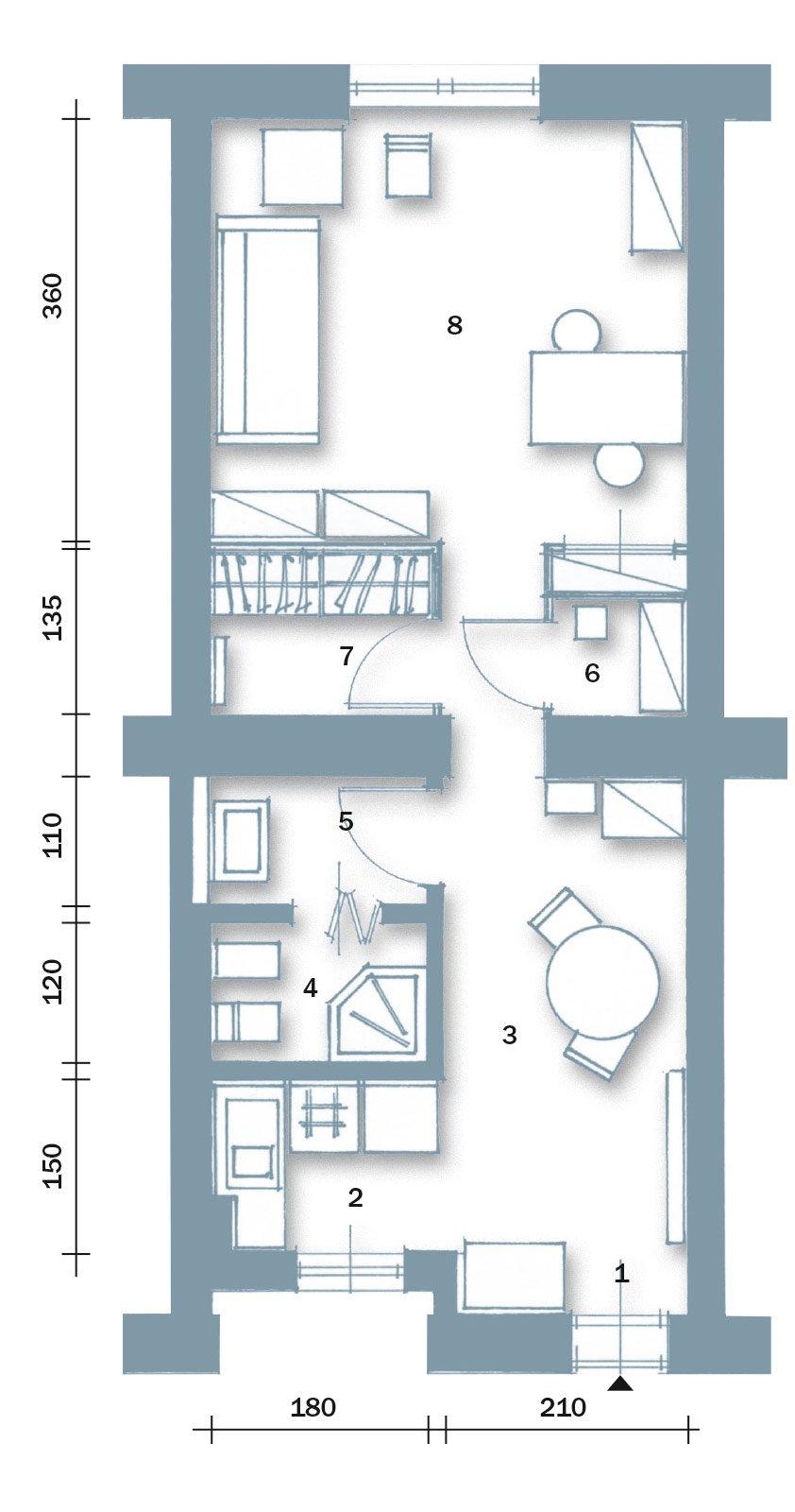 Bilocale di 40 mq una casa fai da te cose di casa - Planimetria casa 60 mq ...