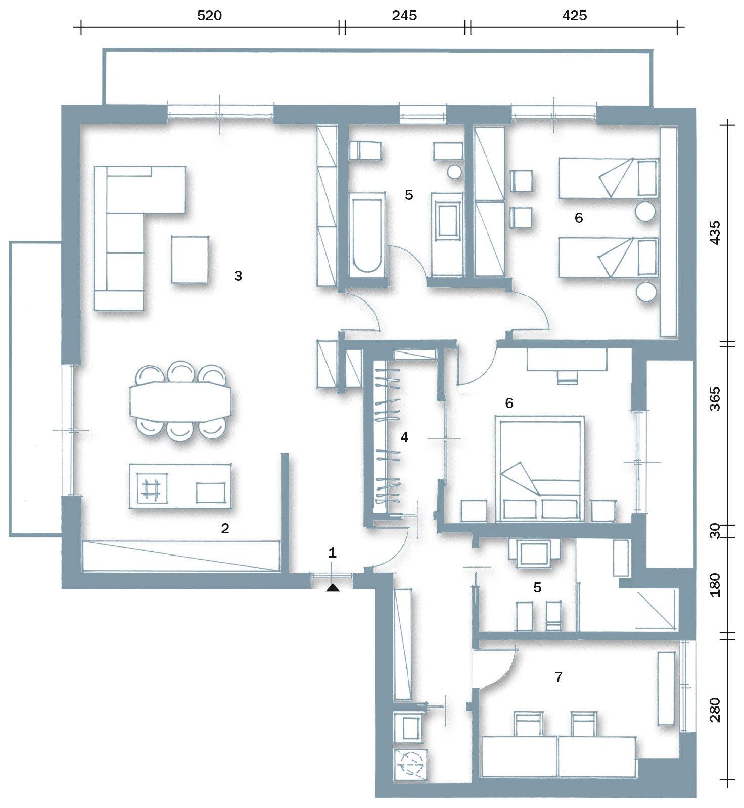 Una casa ristrutturata ridisegnando le prospettive interne for Casa moderna pianta