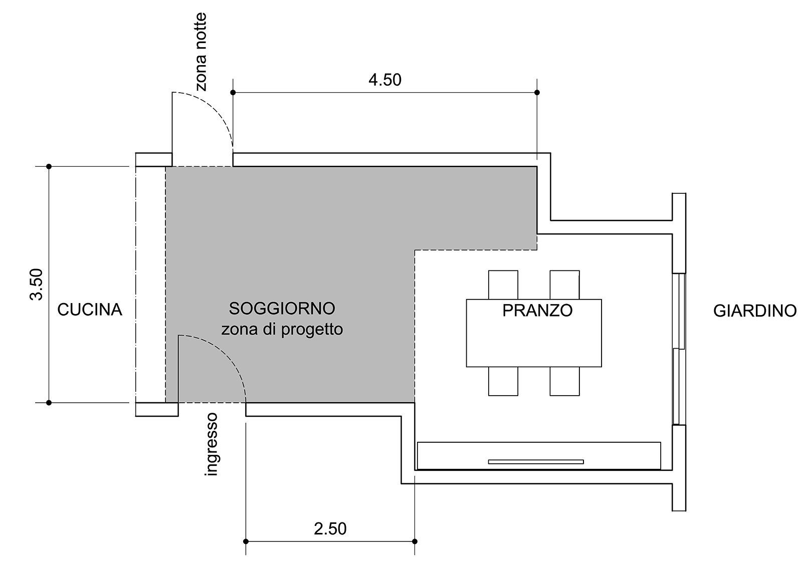 Come dividere ingresso e soggiorno pianta e prospetto in for Pianta da salotto
