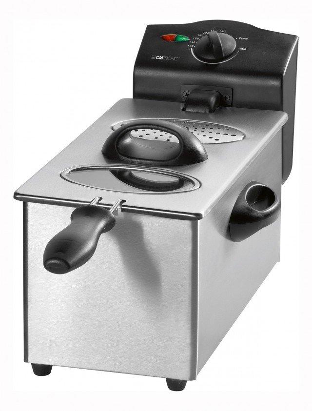 Pratica, semplice e funzionale, la friggitrice Fr3255 di Clatronic in acciaio inox ha capienza di 3 litri  e potenza di 2.000 watt. Con Filtro grassi e odori rimovibile, ha contenitore smaltato e rimovibile per una facile pulizia. Prezzo 35,90. www.clatronic.it