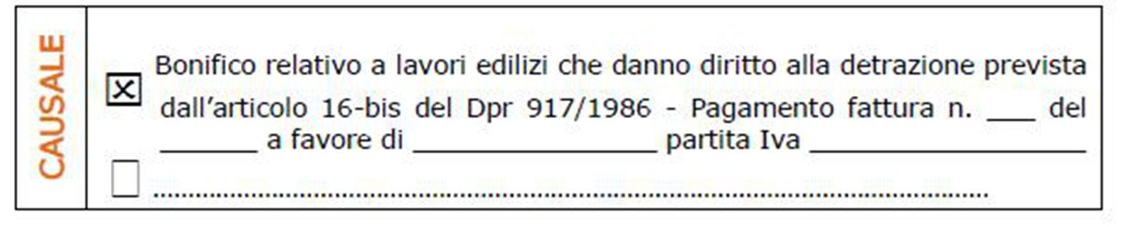 730 e ristrutturazioni come compilare i bonifici per la for Bonifico parlante