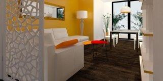 Come dividere ingresso e soggiorno? Pianta e prospetto in 3D