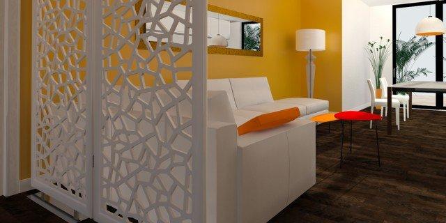 Come dividere ingresso e soggiorno? Pianta e prospetto in 3D ...